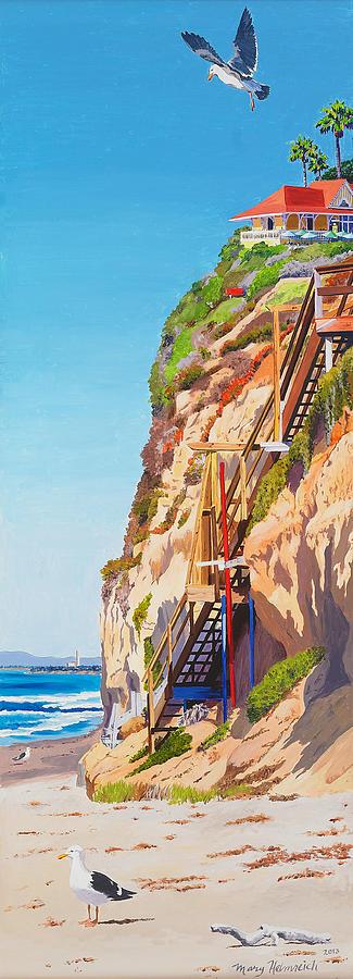 Encinitas Painting - Encinitas Beach Cliffs by Mary Helmreich