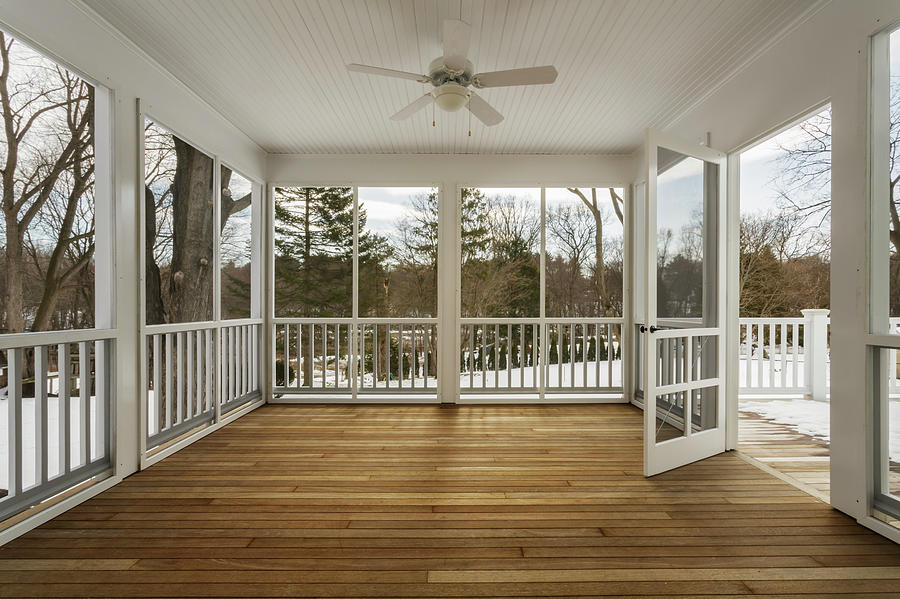 Enclosed Deck Of Home With Screen Door Photograph by David Papazian