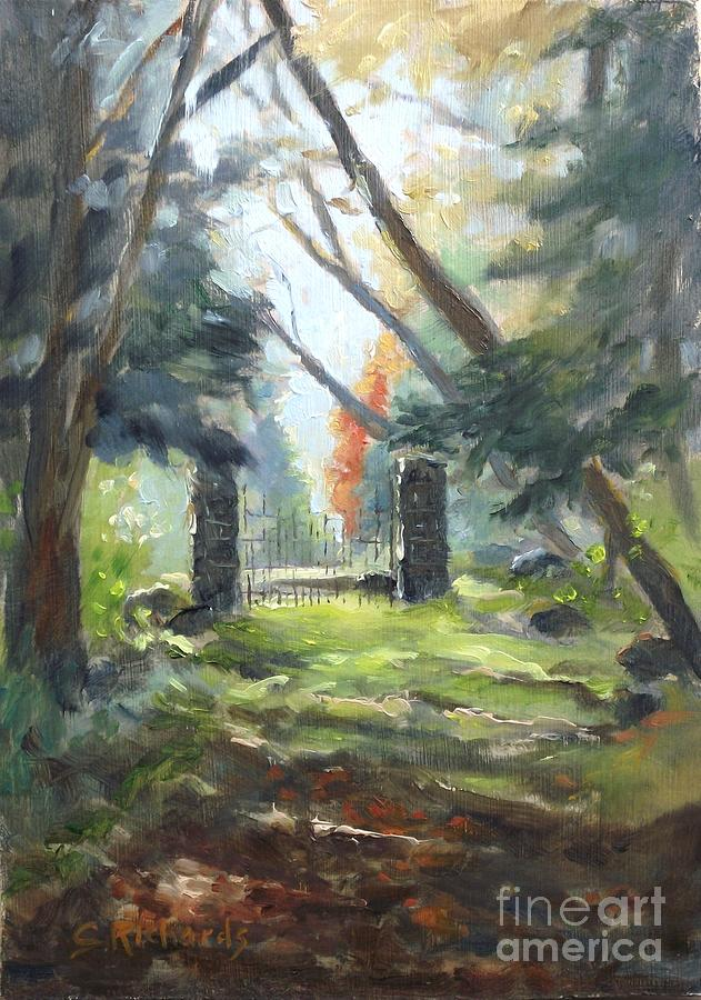 Landscape Painting - Enclosure Gates by Cathleen Richards-Green