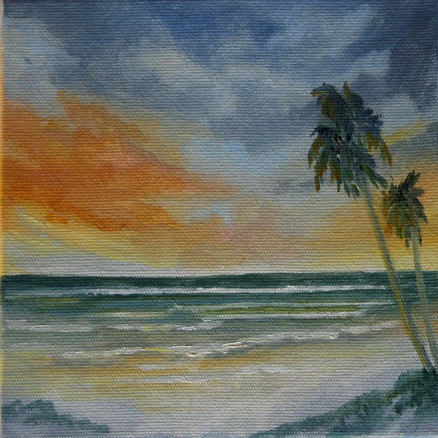Sunset Beach Painting - End Of Day by Rosie Brown