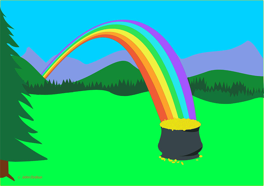 End of Rainbow Pot of Gold Drawing by John Orsbun