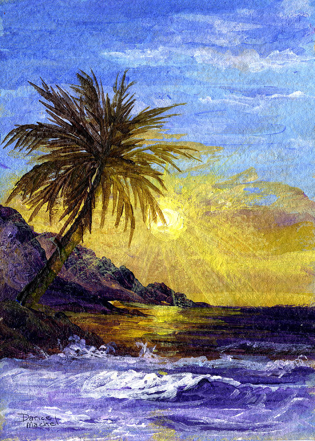 Tropical Island Painting - End Of The Day by Darice Machel McGuire