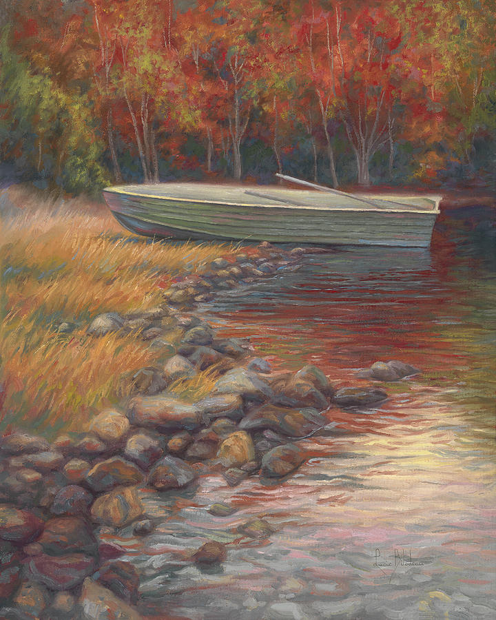 Rowboat Painting - End Of The Day by Lucie Bilodeau