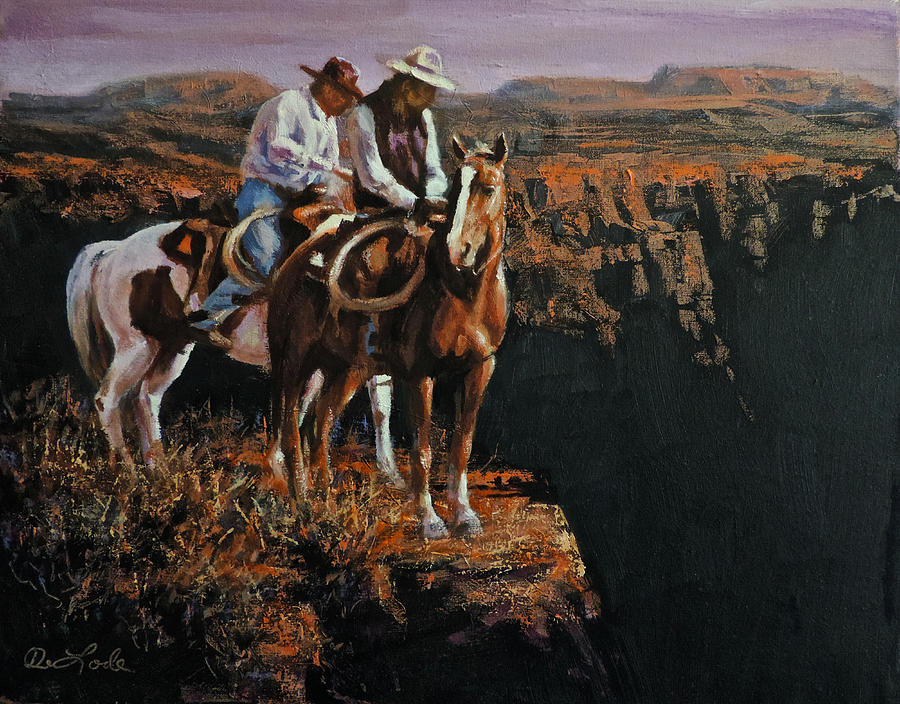Cowboys Painting - End Of The Trail by Mia DeLode