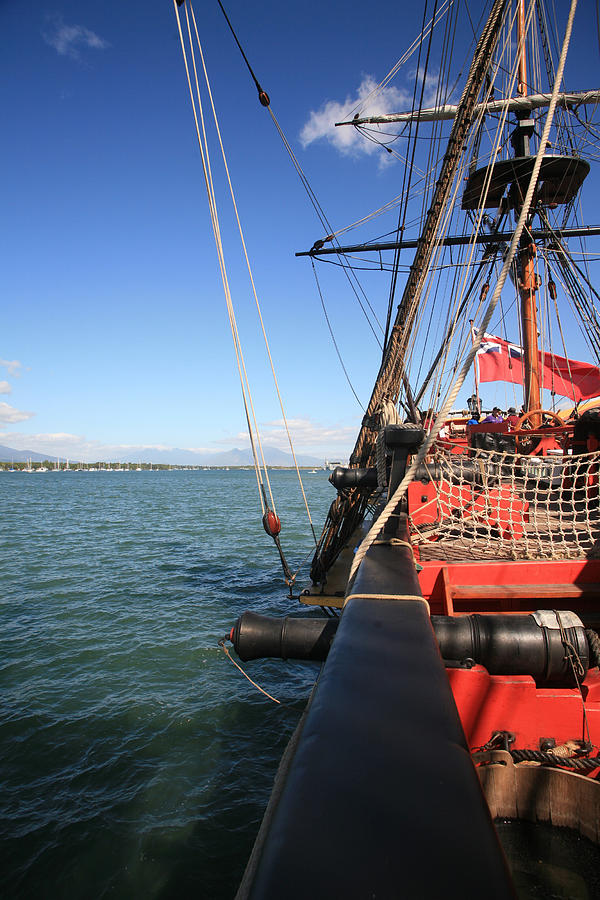 Sailing Ship Photograph - Endeavour 2 At Anchor by Gordon  Grimwade
