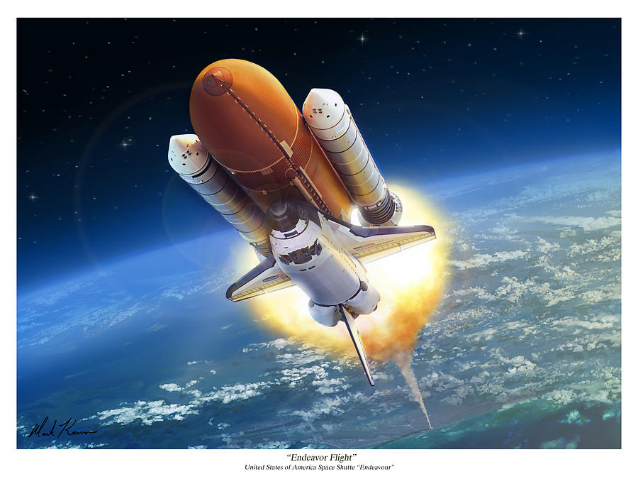 Space Shuttle Painting - Endeavour Flight by Mark Karvon