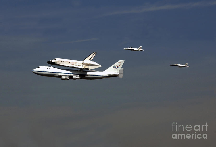 Airplane Photograph - Endeavour Space Shuttle In La With Escort Fighter Jets  by Howard Koby