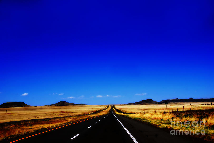 Long Road Photograph - Endless Roads In New Mexico by Susanne Van Hulst