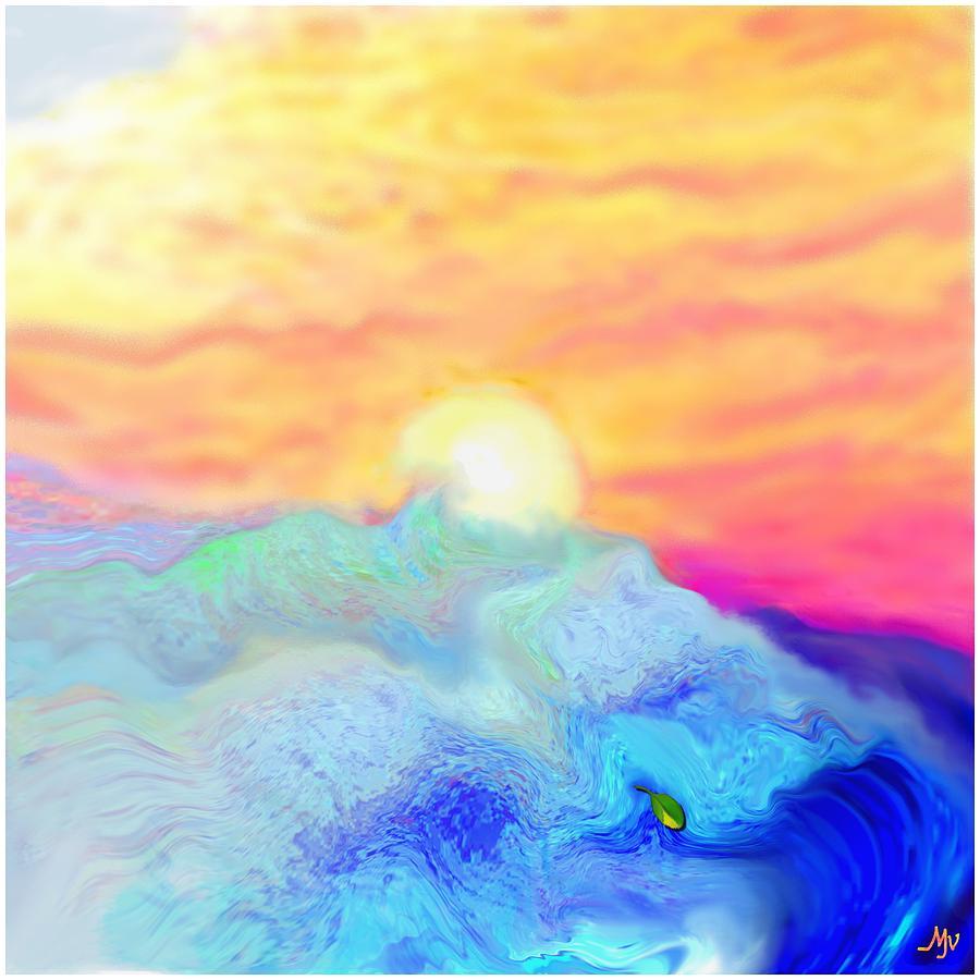 Sun Digital Art - Endless Sea At Sunrise by Mathilde Vhargon