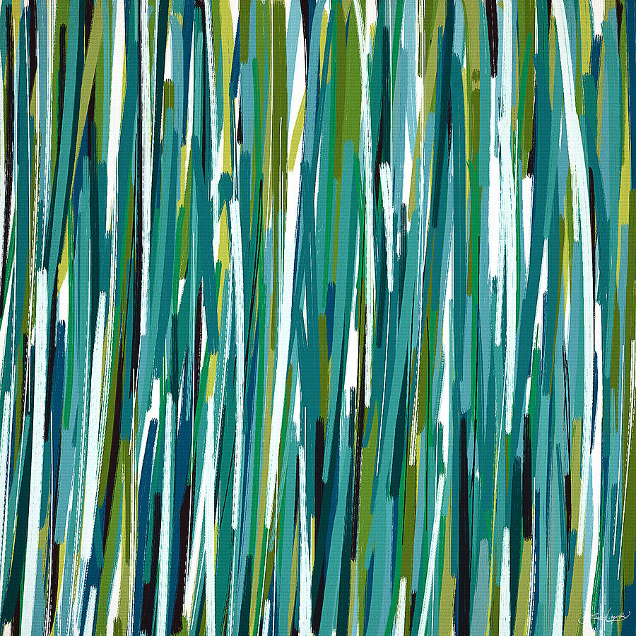 Turquoise Painting - Energy Rises by Lourry Legarde