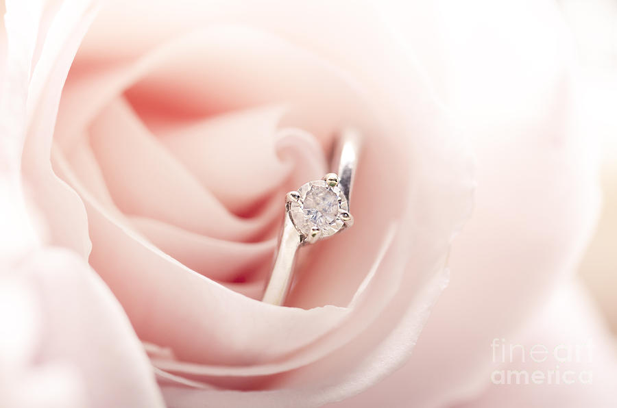 Ring Pyrography - Engagement Ring In Pink Rose by Jelena Jovanovic