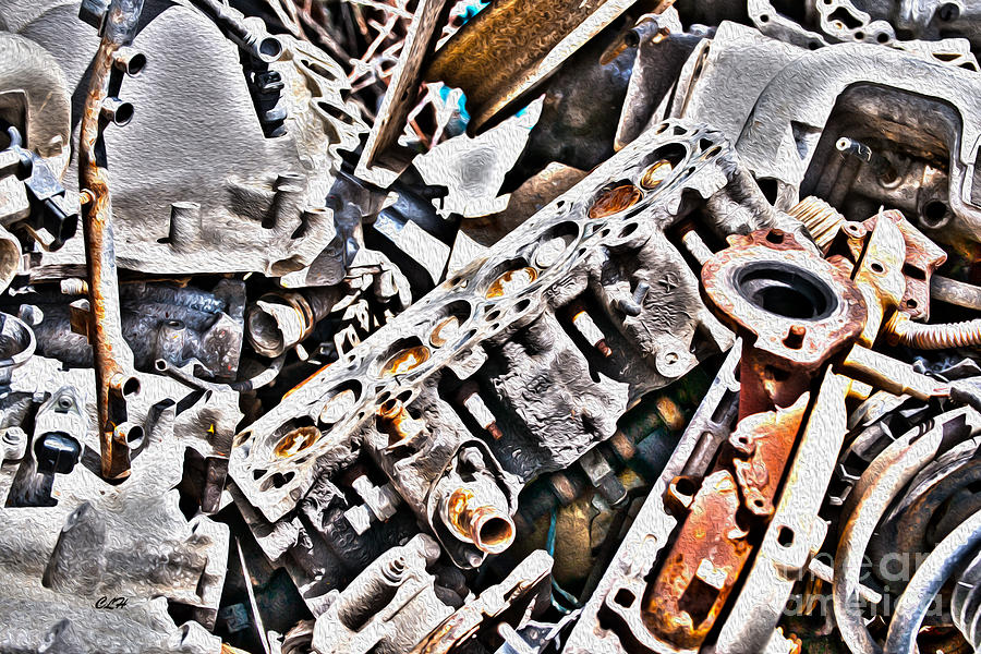 Vehicle Photograph - Engine For Parts - Automotive Recycling by Crystal Harman