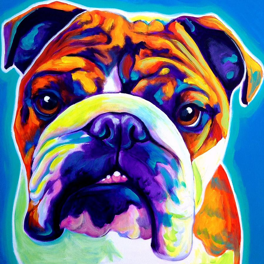 bulldog artwork bulldog bond square painting by alicia vannoy call 4717