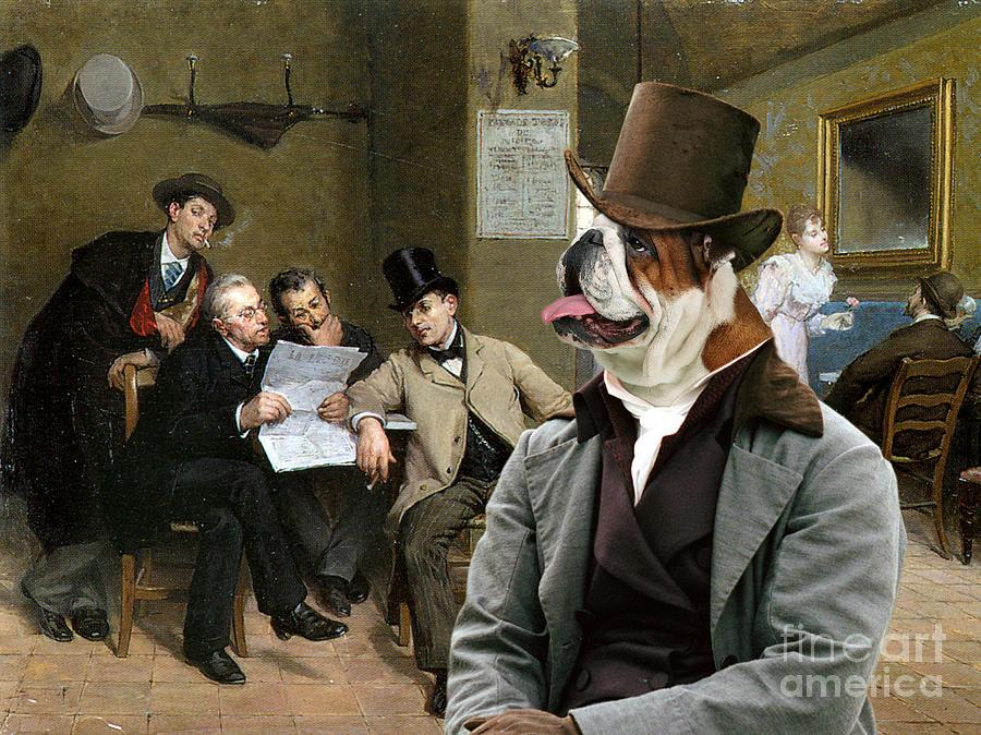 English Bulldog Painting - English Bulldog Art - The Latest News by Sandra Sij