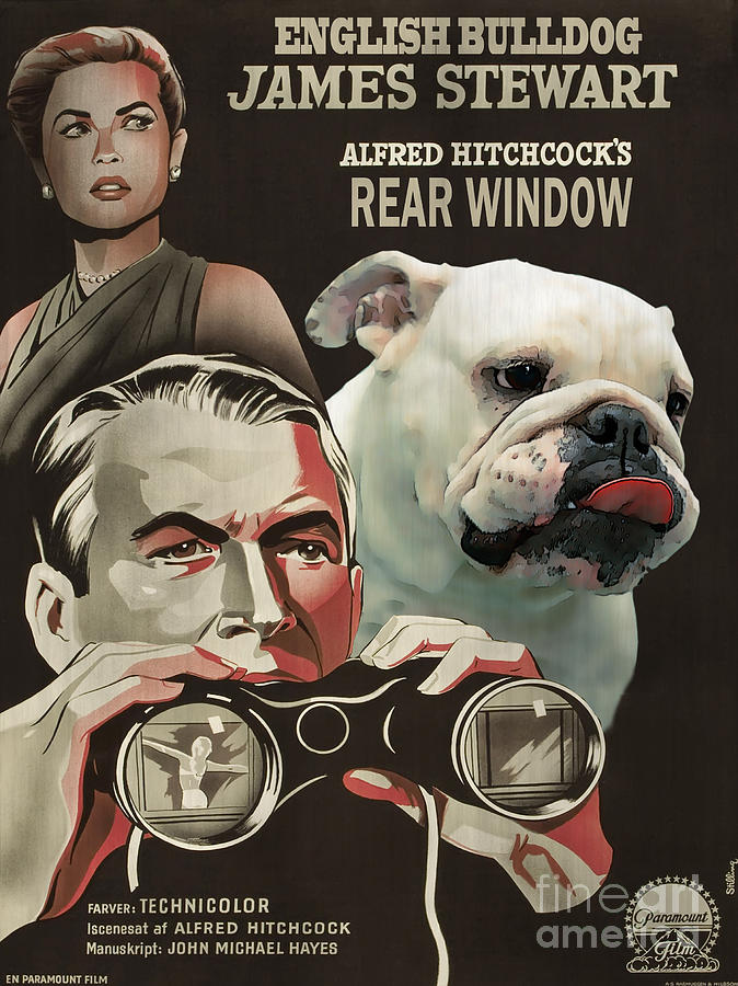 English Bulldog Painting - English Bulldog Art Canvas Print - Rear Window Movie Poster by Sandra Sij