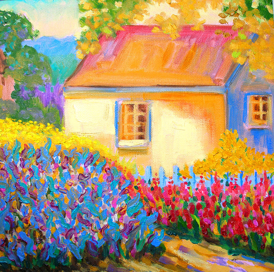 English Cottage Garden Painting By Susi Franco