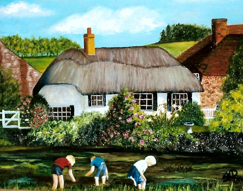 English Country Cottage Sold Painting By Susan Dehlinger