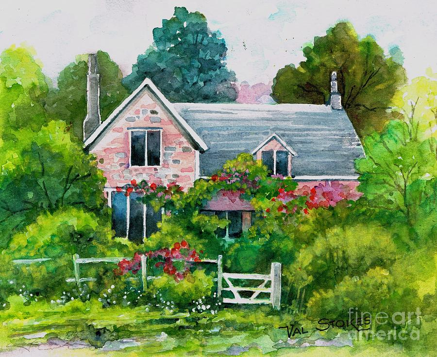 English Country Cottage Painting By Val Stokes