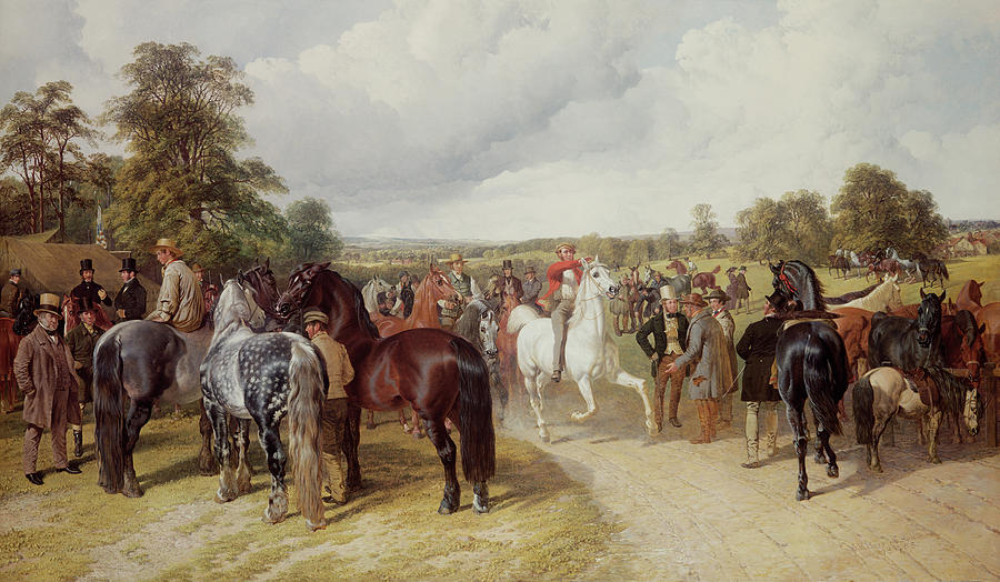 Gathering Painting - English Horse Fair On Southborough Common by John Frederick Herring Snr