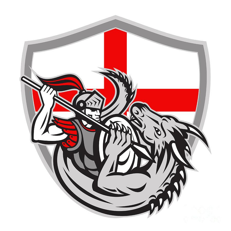 English Knight Fighting Dragon England Flag Shield Retro Digital Art ...