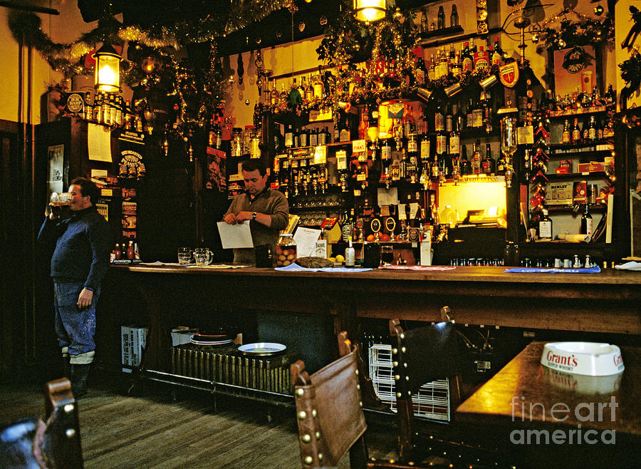 Bar Photograph - English Pub At Christmas-time Uk 1980s by David Davies