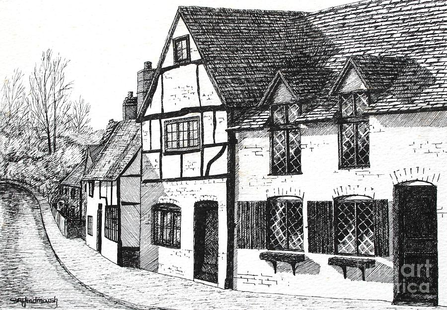 Ancient Drawing - English Village by Shirley Miller