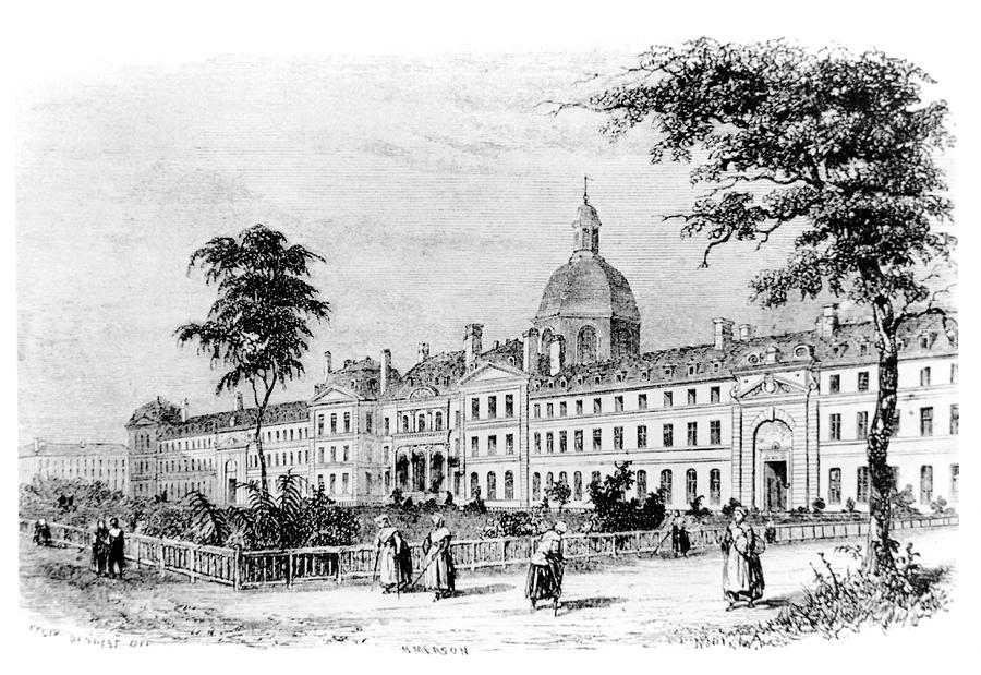 Hospital Photograph - Engraving Of Salpetriere Hospital by Science Photo Library