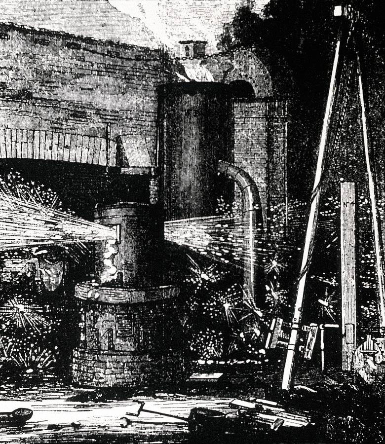 1856 Photograph - Engraving Of Upright Bessemer Furnace by Dr Jeremy Burgess/science Photo Library