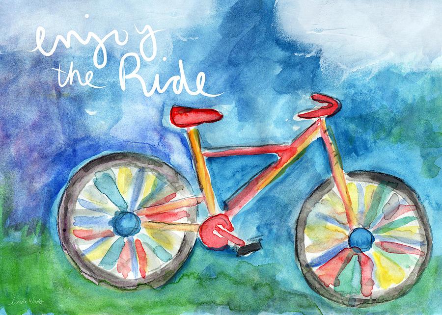 Bike Painting - Enjoy The Ride- Colorful Bike Painting by Linda Woods