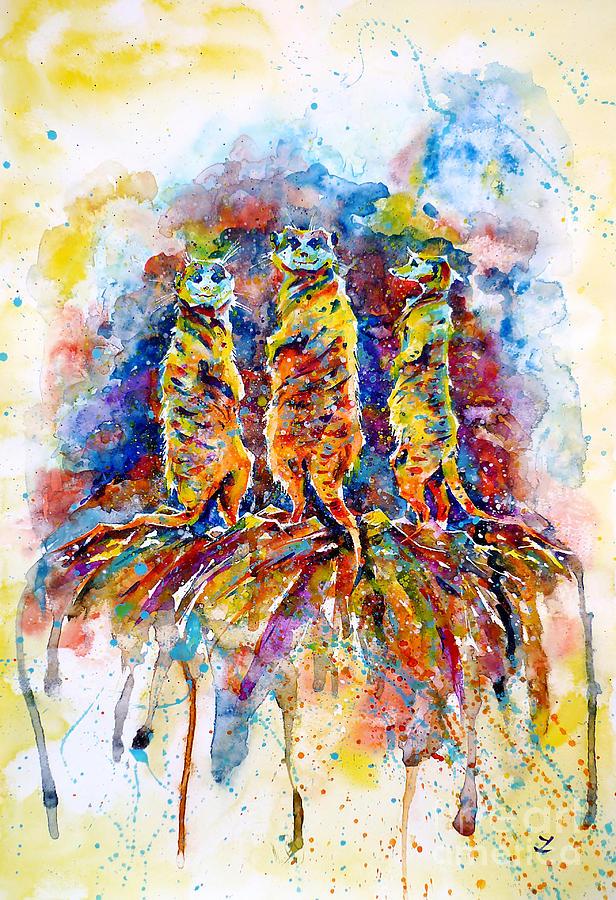 Meerkats Painting - Enjoying The Sun by Zaira Dzhaubaeva