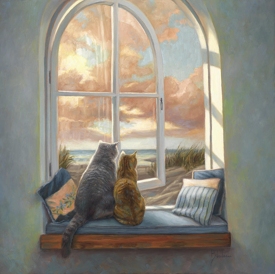 Cat Painting - Enjoying The View by Lucie Bilodeau
