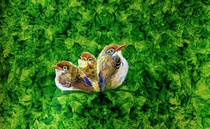 Bird Painting - Enjoying The View. by Sonali Sengupta