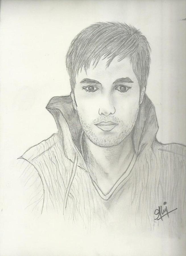 Enrique Iglesias Drawing - Enrique Sketch by Saleem Baig