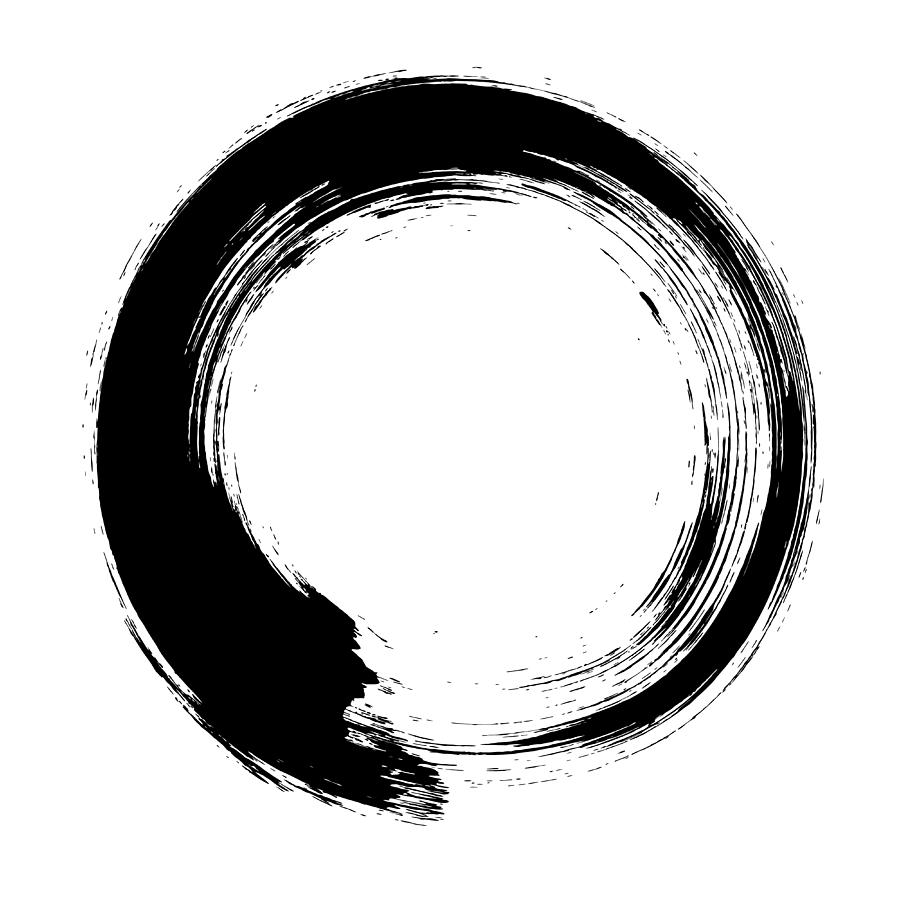 Enso – Circular Brush Stroke Japanese Digital Art by Thoth adan