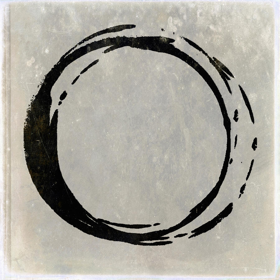 Black Painting - Enso No. 107 Black On Taupe by Julie Niemela