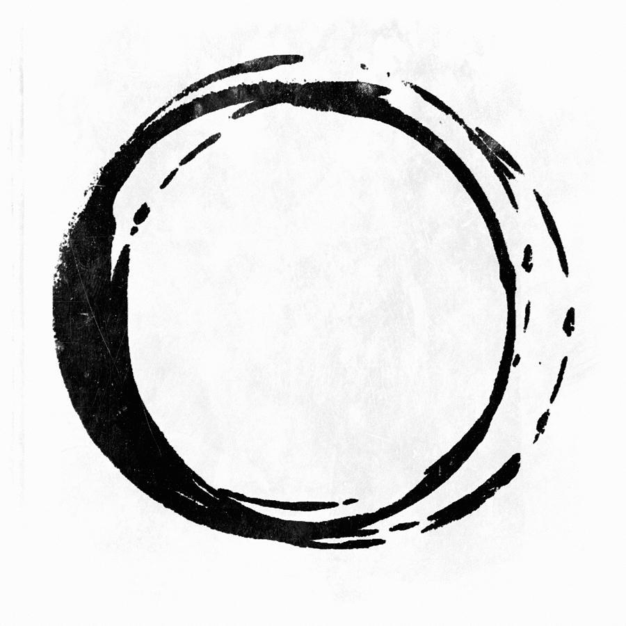 Black Painting - Enso No. 107 Black On White by Julie Niemela