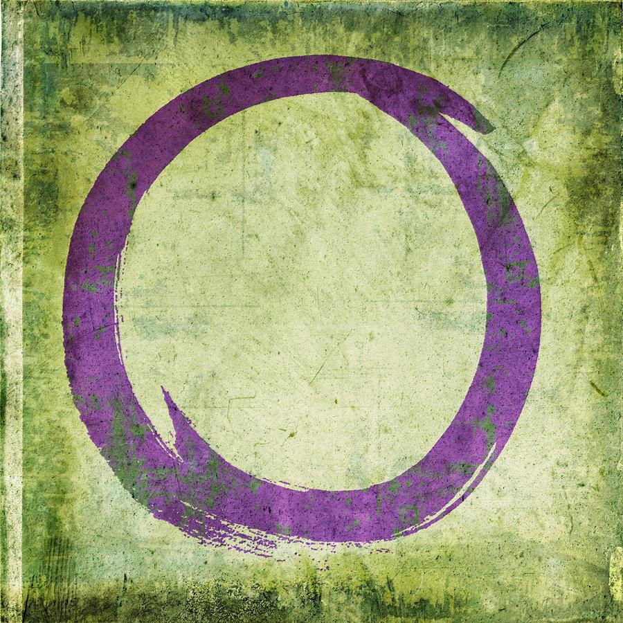 Purple Painting - Enso No. 108 Purple on Green by Julie Niemela