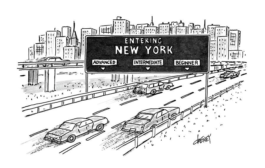 Entering New York: Beginner Drawing by Tom Cheney