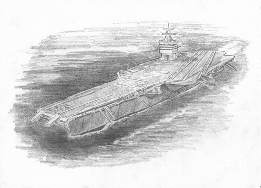 Naval Drawing - Enterprise Aircraft Carrier by Michael Penny
