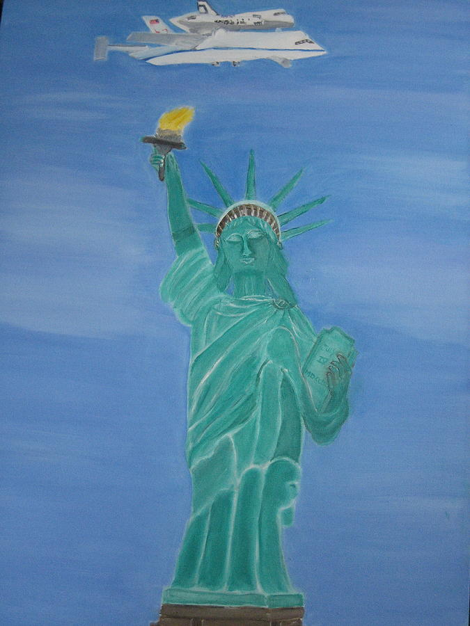 Space Shuttle Enterprise Painting - Enterprise On Statue Of Liberty by Vandna Mehta