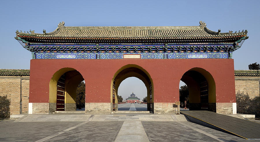 Temple Photograph - Entrance Gate To Tiantan Park In Beijing China by Brendan Reals
