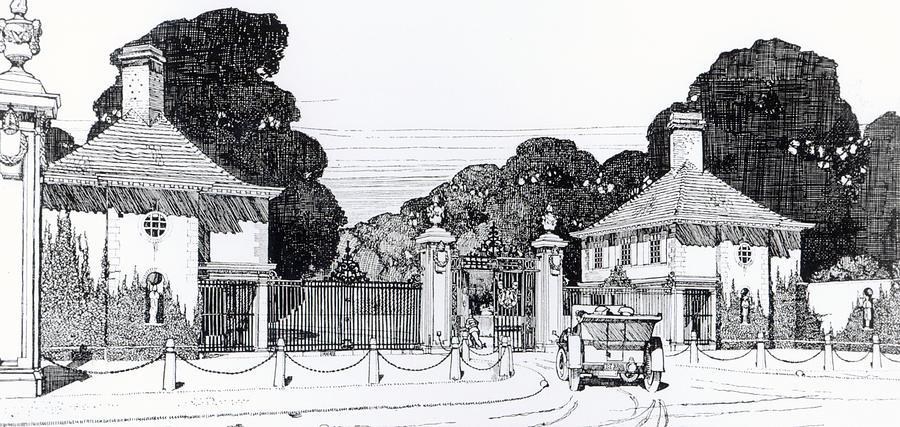 Baltimore Drawing - Entrance To Brooklandwood by Thomas Hayton Mawson