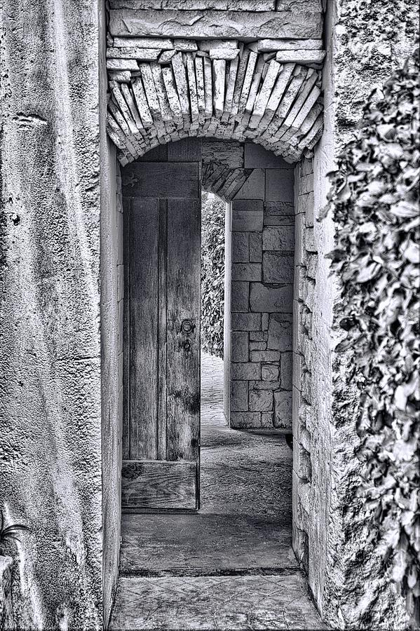 Door Photograph - Entrancing Entrance In Monochrome by Delilah Downs