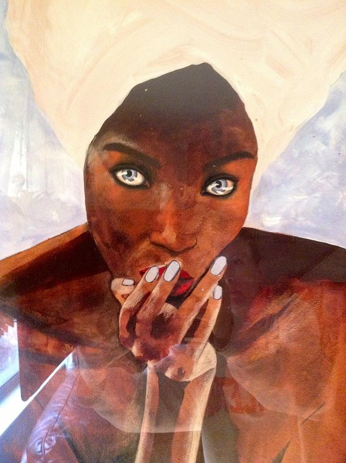Entre La Deesse Et La Femme Painting by Schroder Konate