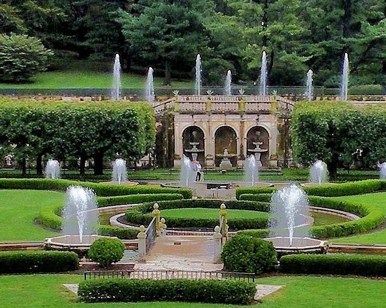Garden Photograph - Entry Fountains At Longwood Gardens by Kim Bemis