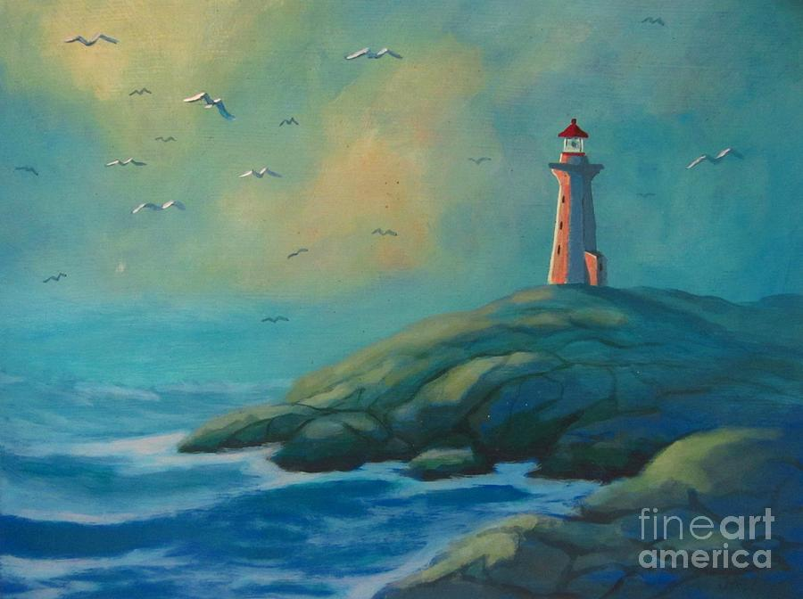 Unique Lighthouses Painting - Envisioning Peggys Cove Lighthouse by John Malone