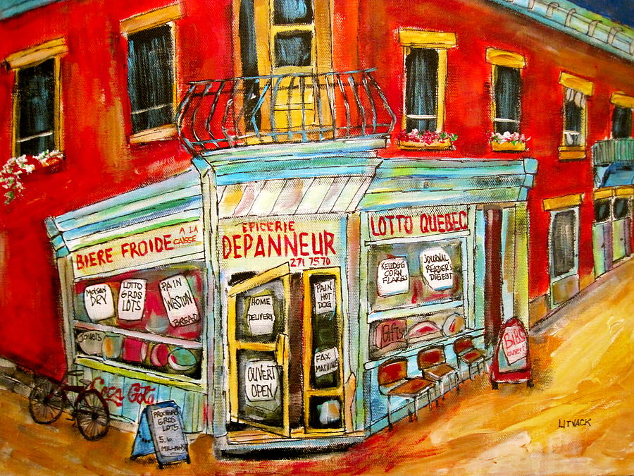 Cornerstore Painting - Epicerie Depanneur  by Michael Litvack