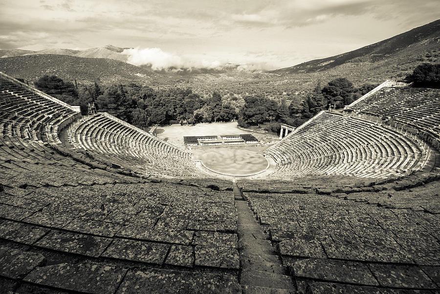 Epidaurus Photograph - Epidavros Theatre by David Waldo
