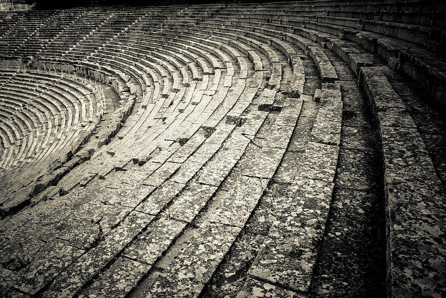 Epidaurus Photograph - Epidavros Theatre Seats by David Waldo