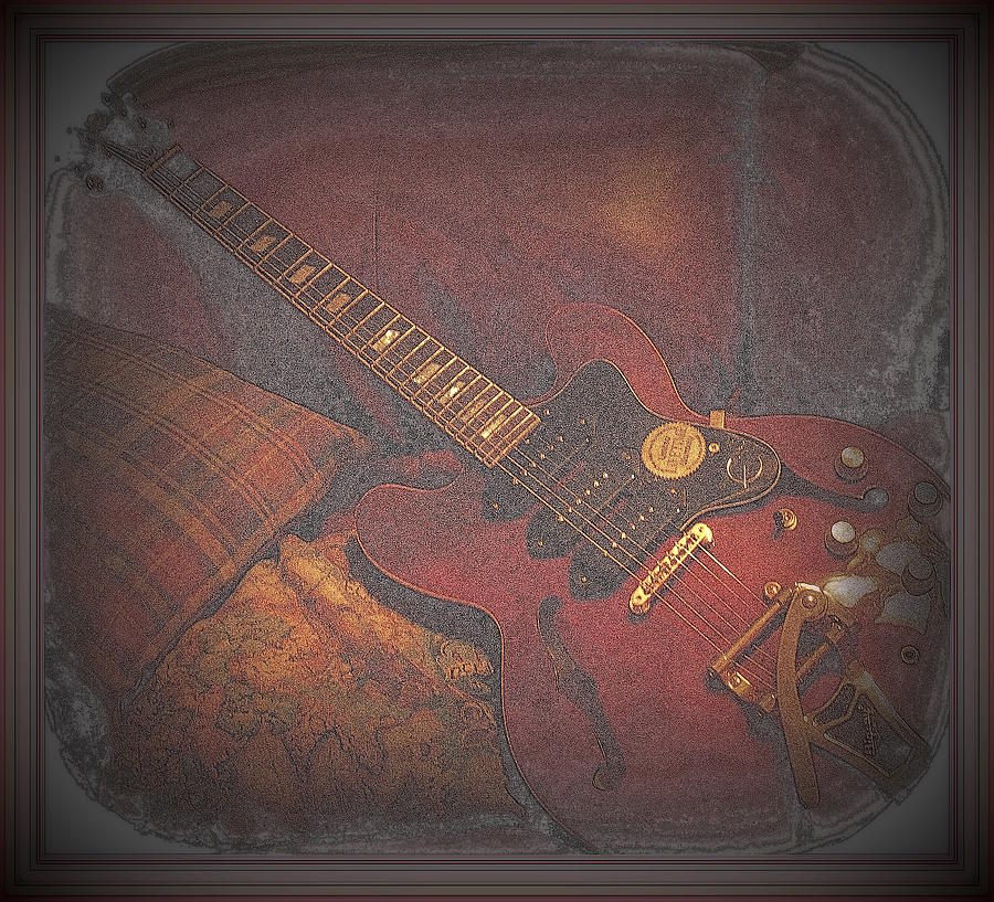 Epiphone Digital Art - Epiphone Riveria Archtop Guitar by Rosemarie E Seppala
